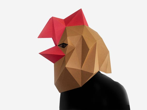 Rooster Mask, Paper Craft Template, DIY Printable Animal Mask, Instant Pdf  Download, 3D Low Poly Masks, Origami Mask, Fun Gift Idea,