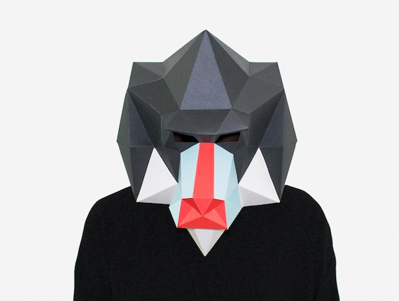 DIY Mandrill Mask, Monkey Mask, 3D Paper Craft Template, Halloween Mask,  Printable Low Poly Paper Mask, Instant Pdf Download, Origami Mask