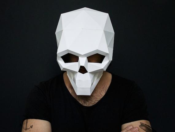 skull mask for halloween diy printable skull instant etsy