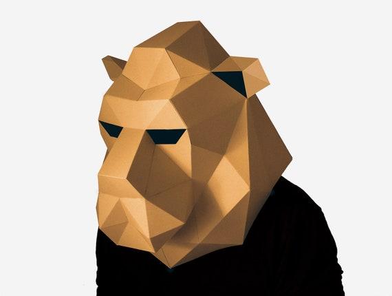 DIY Lion Mask, Lion Head Paper Craft Template, Halloween Mask, Printable  Mask, Instant Pdf Download, 3D Low Poly Mask, Origami Lion Mask
