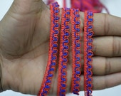 Red Blue 1 cm Decorative Ribbon Indian Laces Trims by 9 Yard Cord Embellishments Lace Sari Border Curtains Dresses Ribbon Crafting Sewing