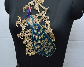 eca6af932e5 Peacock Zardosi Patches Indian Sewing Decorative Floral Thread Embroidered Applique  Dresses Patch Appliques Handmade Patches Crafting Supply