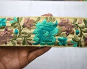 Fabric Trim and Embellishment Embroidered accessories Indian Trim By The Yard Saree Ribbon Trims Silk Sari Border Decorative Sewing Crafting