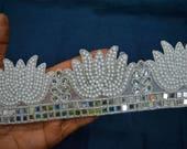 Indian Laces and Trims Decorative sari border Trim by the yard Costume trim Metallic Ribbon Kundan Lace Embellished Mirror work Border