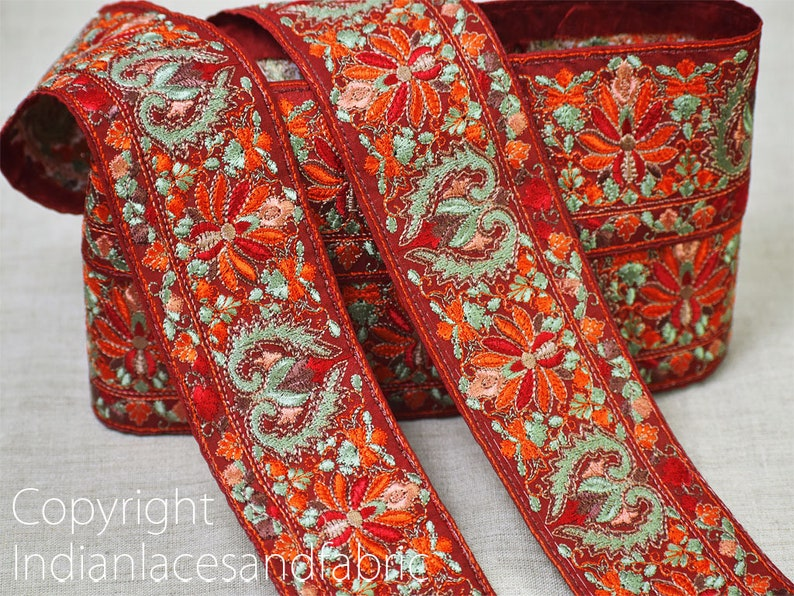 Maroon  Indian Embroidered Fabric Trim By The Yard Decorative Sewing Sari Border Beach Bags Hats Trimmings Crafting Saree Embroidery Ribbons