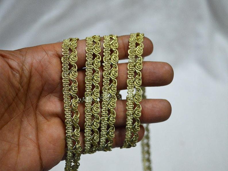Decorative Pale Gold Trim Ribbon, Indian Laces and Trims Metallic Ribbon  Jari Cord Lace for Sari Border / Lehenga Dresses - Gota Pati Ribbon