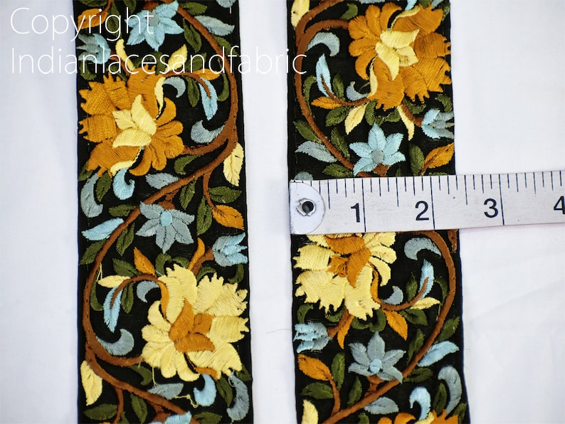 9 Yard Yellow Wholesale Trims Embroidery Decorative Saree Border Embroidered Ribbon Sewing Cushions Crafting Curtains Christmas Trimmings