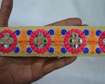 Sari Borders Embroidered Laces Indian Fabric trims and embellishments, Decorative Saree Borders and Trim By 2 Yard, Craft ribbon Tape