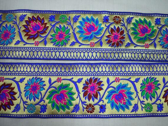 Gros ruban Jacquard bleu par 9 Cour Saree brocart brocart Saree bordure or garniture indien Galons dentelle pour Sari et robes d'artisanat couture frontière b1b441