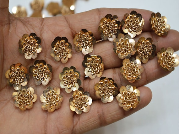 1 Piece Latest Indian Rhinestone Gold Zari Embroidery Applique//Patch Crafting