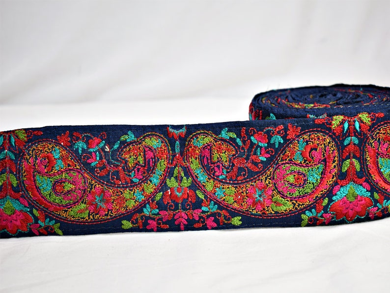 9 Yard Wholesale Navy Blue Paisley Trimmings Decorative Embroidered Ribbon Sewing fabric Laces embellishments Crafting Boutique Materials