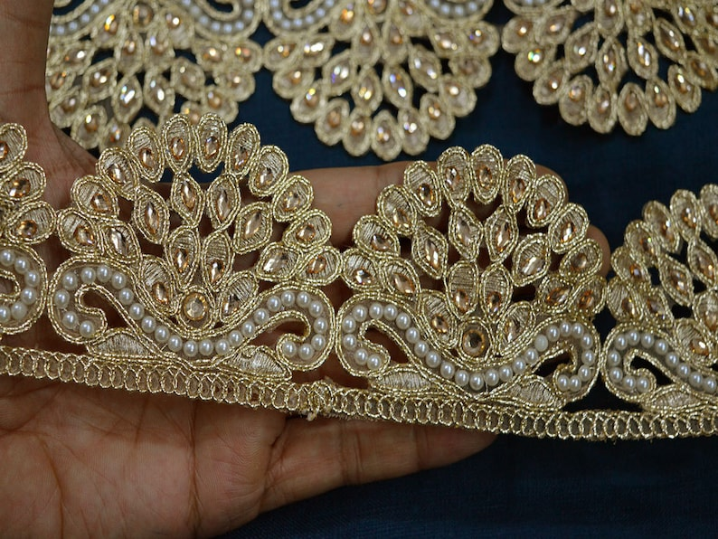 Silver Ribbon Trim Sari Border Floral Lace 5.0 Cm Wide Indian Trim By The Yard