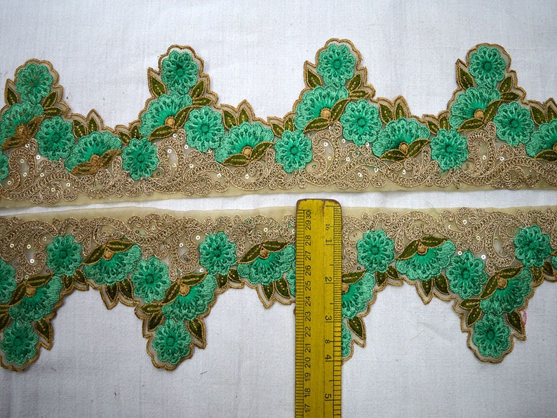 Sea Green Indian Trim by 9 yard Decorative Crafting Ribbon Embroidered Saree Border Ribbon Fabric trims and embellishments Sari Border