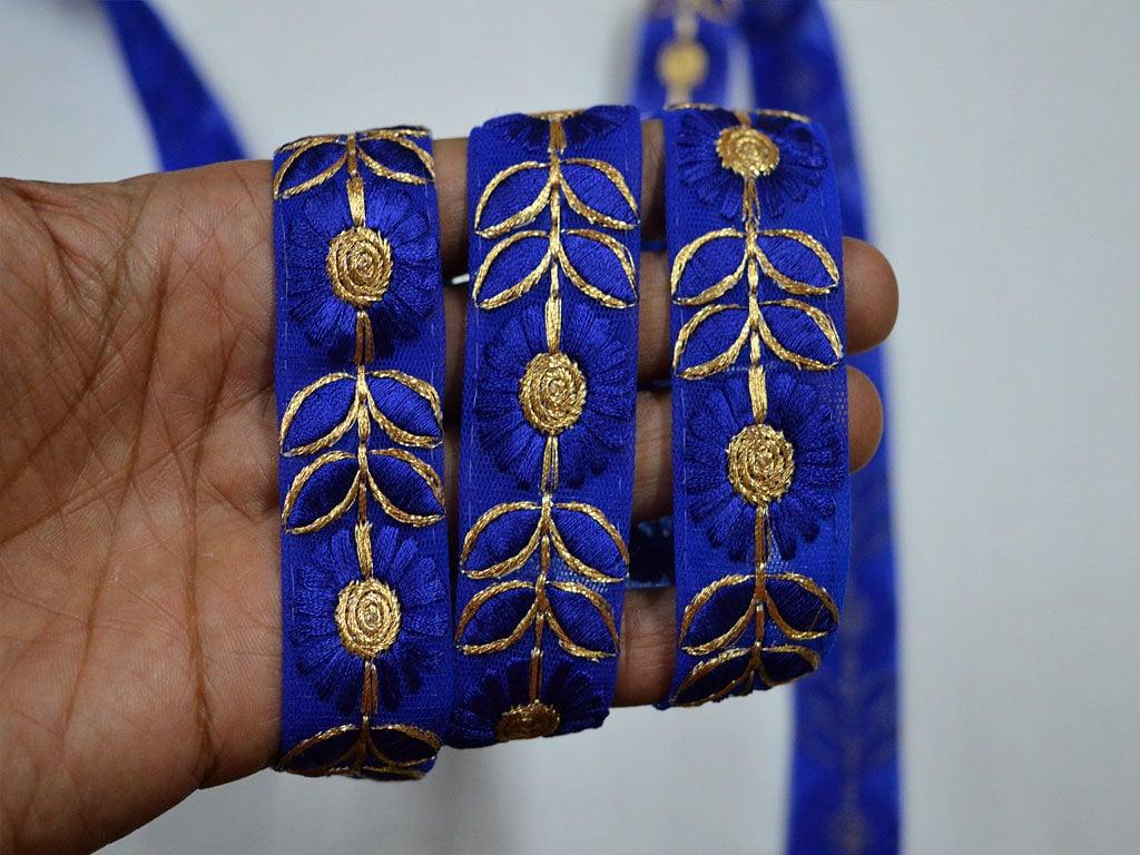 En En En gros Blue Indian Laces Tissu Trims Par 9 Yard Saree Border embellissements Décoratif Sari Borders Brodé Crafting Couture Ruban 7accb4