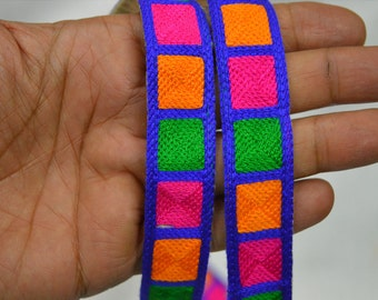 Multi color Trim Embroidered Ribbon Trimmings Decorative Trim Sari Border Trim By 2 Yard Sewing Indian Fabric Trim Costume / Crafting Trim