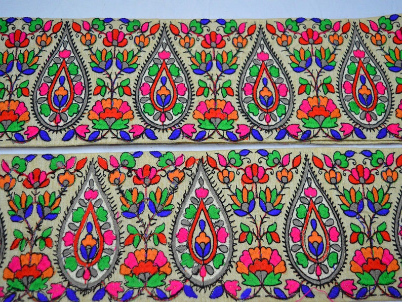 Hot Pink Embroidered Decorative Sari Border Fabric embellishments Trim By The Yard Trimmings Sewing Crafting Indian Laces Costumes Ribbon