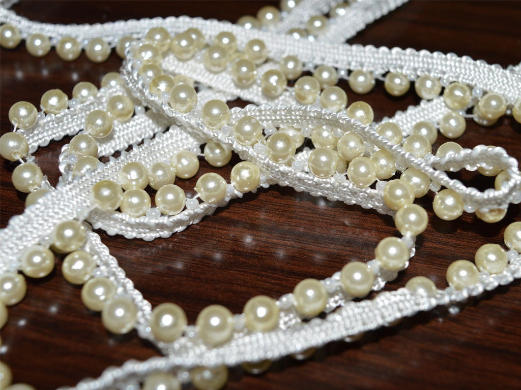 4 Yard Decorative Fringe Acrylic Beaded Trim Sewing Indian Ribbon Lace DIY Crafting Embellished Saree Border Bridal Dress Dupatta Trimmings