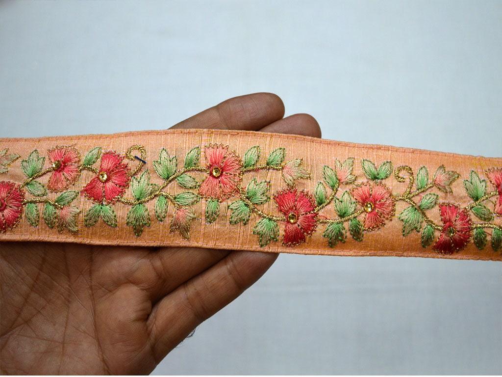 En gros brodé pêche saree garniture par 9 Yard Yard Yard décoratif frontière indien en tissu indien garnitures lacets couture costume passementerie e6b7a7