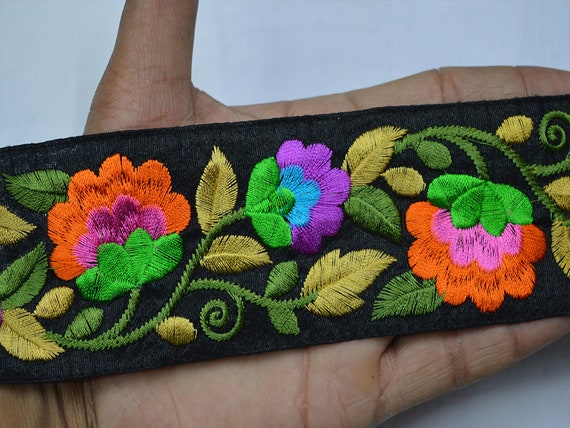 FabStitchIN Cushions Cover Golden Floral Embroidered Net Fabric Border Skirts Ribbons Trims from India for Sari Lehenga Laces