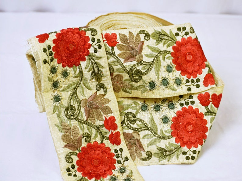 9 Yard Wholesale Red Flowers Embroidered Fabric Trim Decorative Indian Sari Border Sewing Crafting Ribbon Trimmings accessories Table Runner