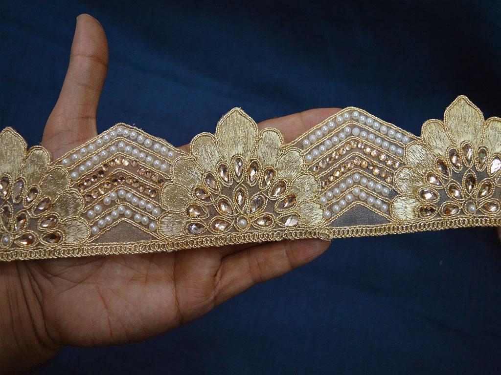 En gros Doré Kundan Sari Border Trim par 9 9 9 Courtier Métallique Ruban Perlé Indien Dentelle Garnitures Ornements Passementerie Coudre Couture de4cd4