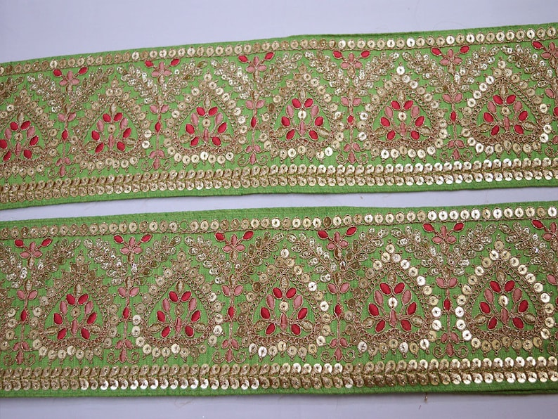 Patchwork Embroidered Embellishment Trimmings Saree Fabric Trim By The Yard Lehnga Ribbon Indian Sari gold Crafting Sewing Sequins Border