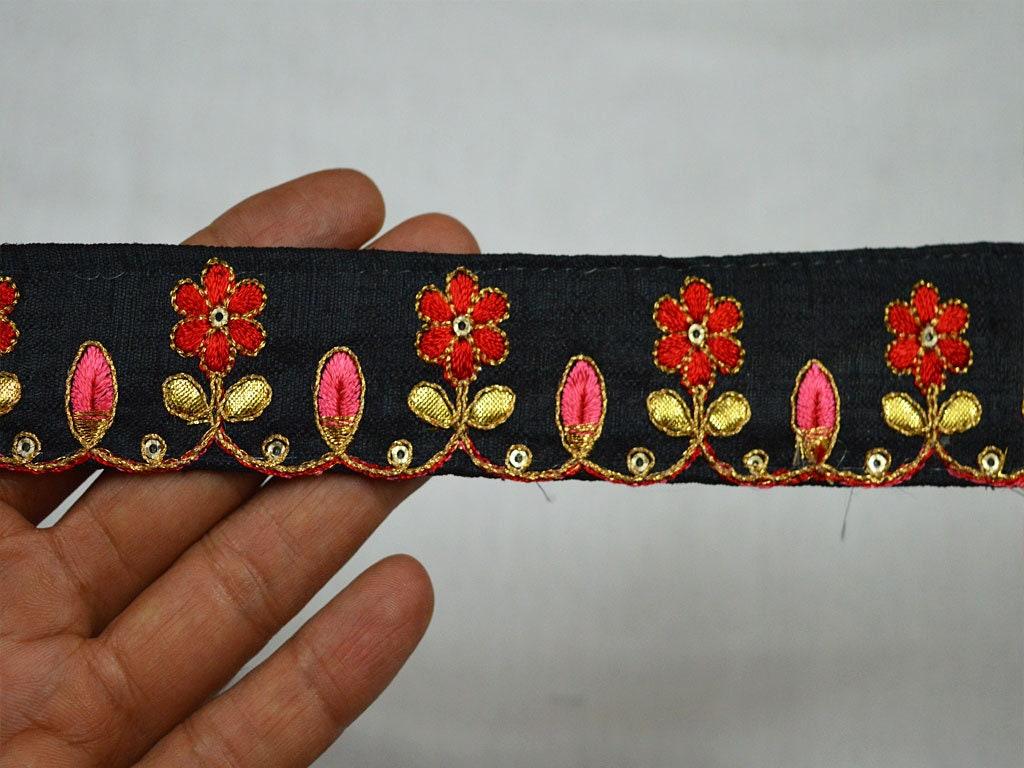 En En En gros Noir Saree Border Fabric Trims et embellissements Indian Laces Trims Garniture Décorative Brodé Par 9 Yard Crafting Ruban 046d92