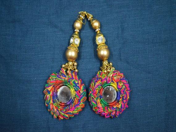 1 par último indio Hilo De Seda Blusa latkans con cuentas Decoración Borlas