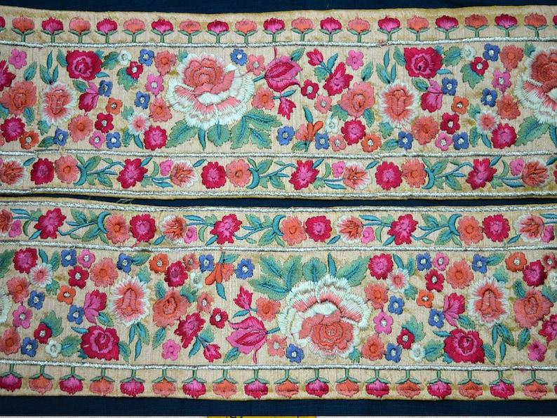 Wholesale Peach Decorative Indian Sari Border Embroidered Ribbon Indian Trim By 9 Yard Silk Sewing Fabric Trim Craft Ribbon Trimmings