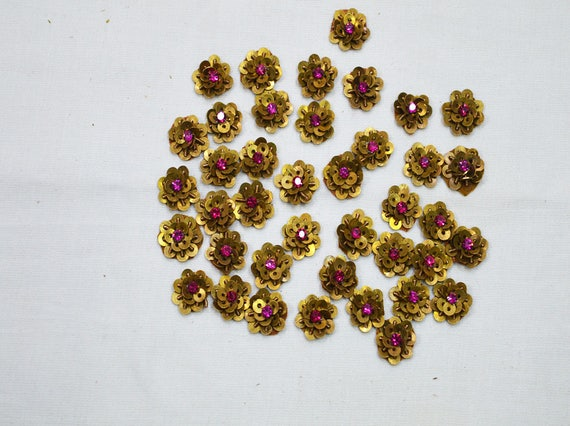 Tiny magenta flower shaped appliques indian appliques etsy