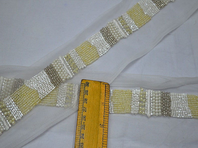 Exclusive Clear Beaded Trim Wedding Dress ribbon Bridal Belt Sashes Trim By The Yard Handmade Laces Costume Crafting Sewing Sari Border