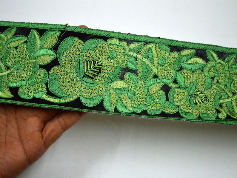 Wholesale 3 Green Sewing Indian Fabric Trim By 9 Yard Crafting Sari Border Decorative Embroidered Costume Laces Embroidery Trimming tape