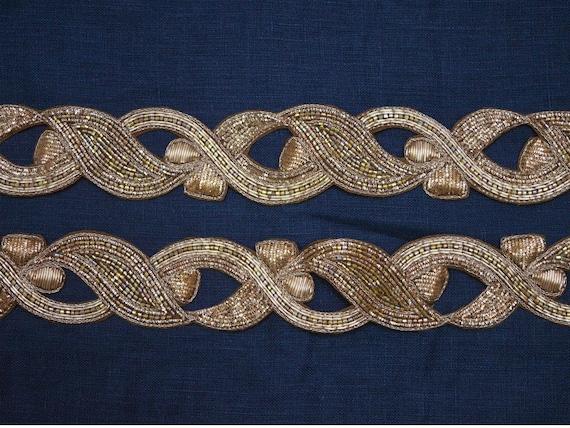 Garniture en or décorée à en la main garniture en à or Zardosi par la cour Indian Saree Bordures à garniture en bordure brodée 379649