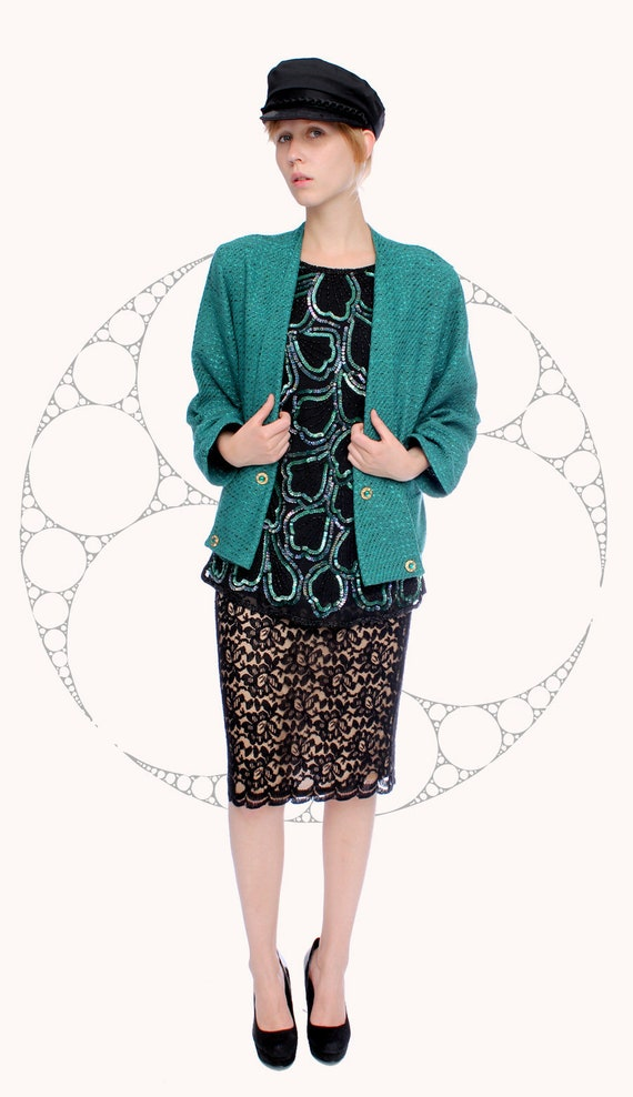 38 / 80S VINTAGE PETROL woolen Blazer in elegant s
