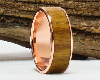 Copper Ring with Jack Daniel's Whiskey Barrel Wood  Copper Ring, Copper Wedding Band, Wood engagement ring