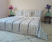 Mina. authentic vintage wedding blanket .throw bed blanket. berber handira 265x140cm