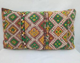 Vintage decorative Berber pillow, handmade Tribal Moroccan pillow