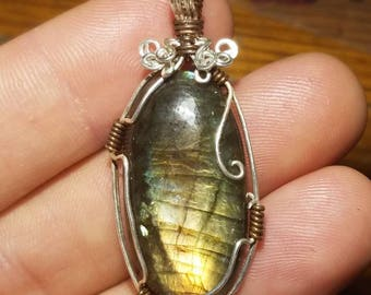 Labradorite wrapped in Sterling Silver and Copper Pendant Necklace