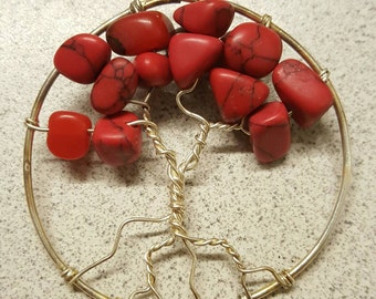 Red Jasper Tree of Life Wire Wrapped Pendant
