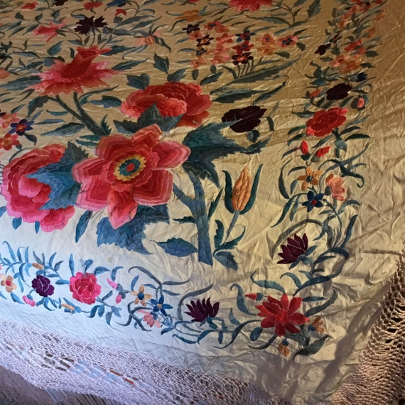 Antique Huge Embroidered Piano Shawl - image 6