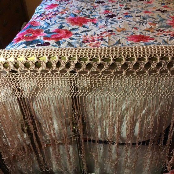 Antique Huge Embroidered Piano Shawl - image 9