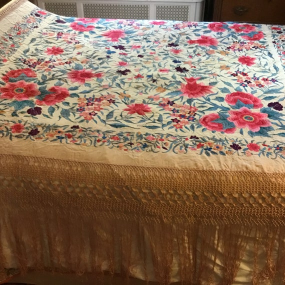 Antique Huge Embroidered Piano Shawl - image 2