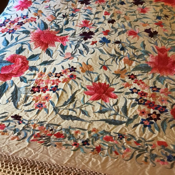 Antique Huge Embroidered Piano Shawl - image 5
