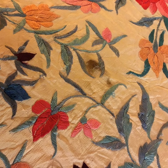 Antique Huge Embroidered Piano Shawl - image 8