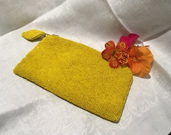 Yellow Glass Beaded Clutch, Art Deco Evening Bag