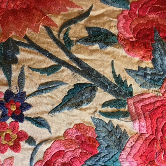 Antique Huge Embroidered Piano Shawl - image 10