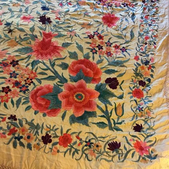 Antique Huge Embroidered Piano Shawl - image 3