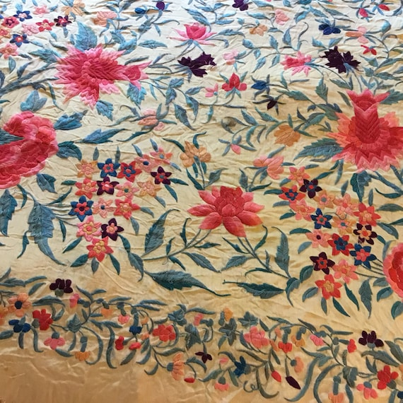 Antique Huge Embroidered Piano Shawl - image 4