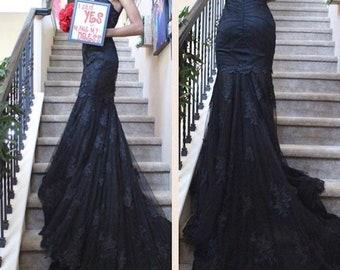 Black wedding dress etsy black lace mermaid dress black dress custom made black weddding gown black bridal gown black gown ruched black wedding dress junglespirit Gallery