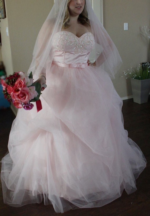 Blush Wedding Dress And Veil Pink Wedding Dress Plus Size Etsy